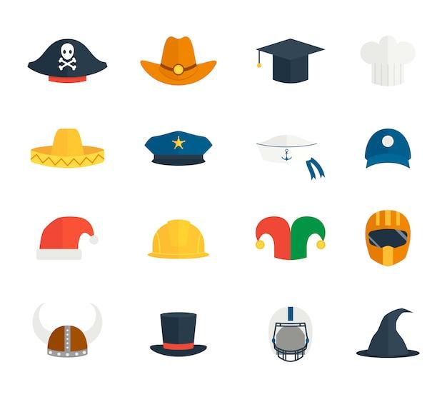 Conjunto de iconos de sombrero
