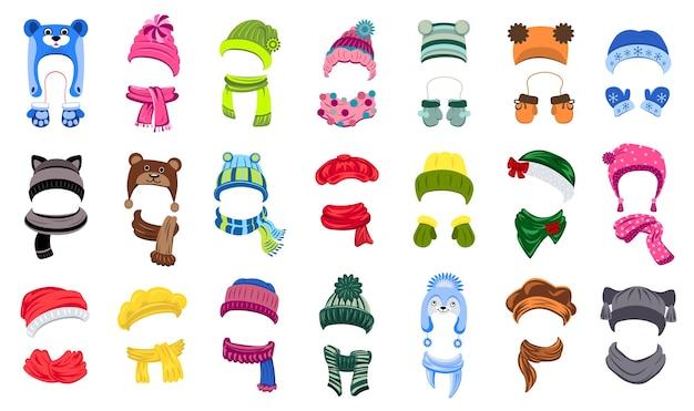 Conjunto de iconos de sombreros de invierno. conjunto de dibujos animados de sombreros de invierno
