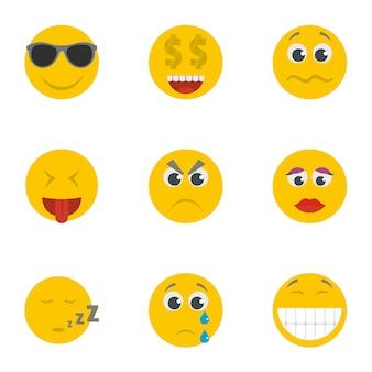 Conjunto de iconos de sonrisa. conjunto de dibujos animados de 9 iconos de vector de sonrisa