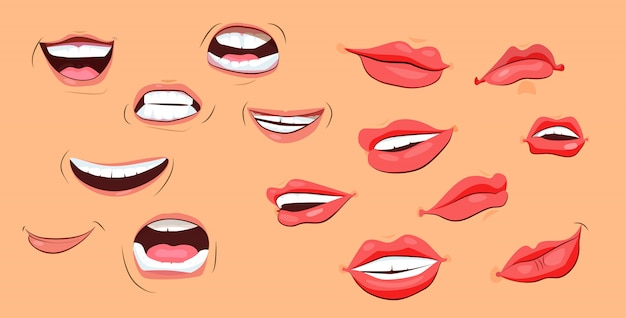 Conjunto de iconos de sonrisas y labios