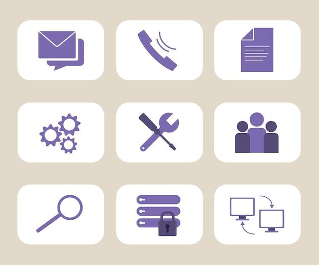 Conjunto de iconos de soporte técnico y alojamiento web