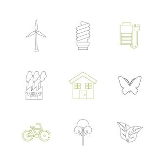 Conjunto de iconos de sostenibilidad y ecología