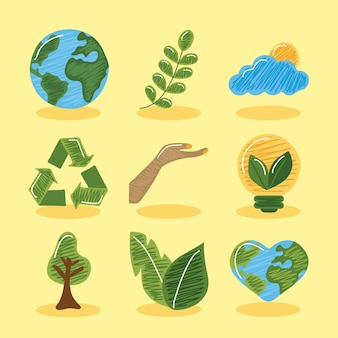Conjunto de iconos sostenibles