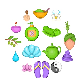 Conjunto de iconos de spa, estilo de dibujos animados