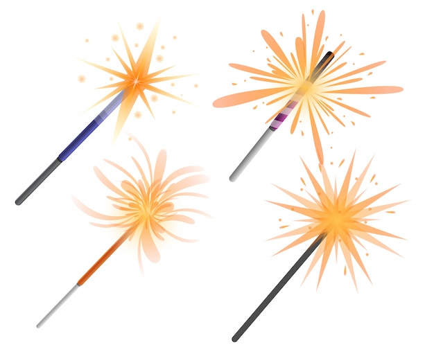 Conjunto de iconos de sparkler, estilo de dibujos animados