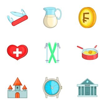 Conjunto de iconos de suiza, estilo de dibujos animados
