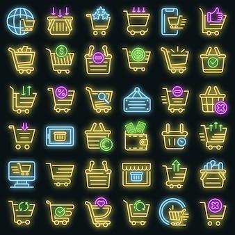 Conjunto de iconos de supermercado de carro. esquema conjunto de iconos de vector de supermercado de carro color neón en negro
