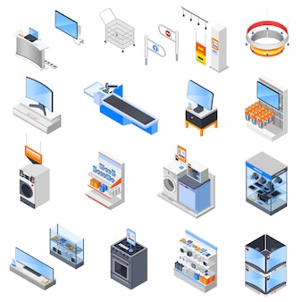 Conjunto de iconos de supermercado de electrónica