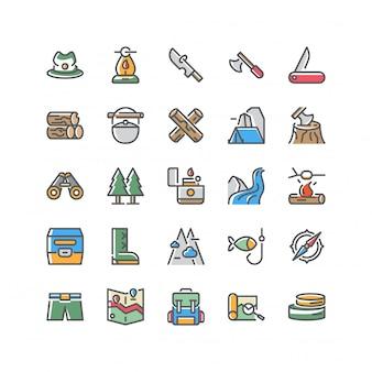 Conjunto de iconos de supervivencia aventura conjunto de vectores