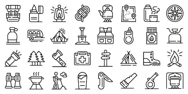 Conjunto de iconos de supervivencia, estilo de contorno