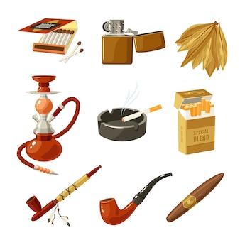 Conjunto de iconos de tabaco
