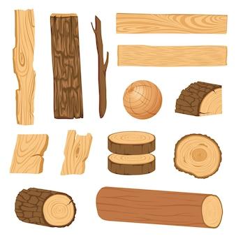 Conjunto de iconos de tablas de madera con textura, barras y partes de un árbol.