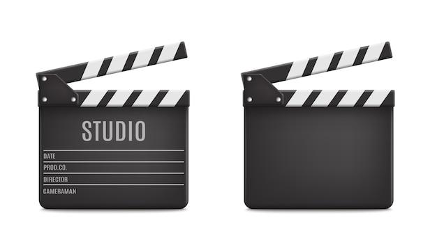 Conjunto de iconos de tablero de aplausos de película de película realista abierto closeup aislado en transparente