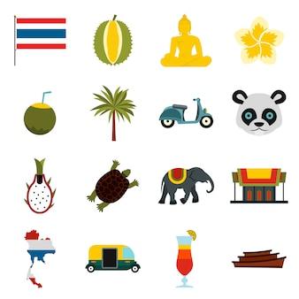 Conjunto de iconos de tailandia, ctyle plana