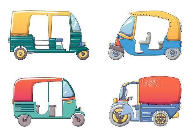 Conjunto de iconos de tailandia rickshaw tuk