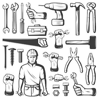 Conjunto de iconos de taller de reparación vintage