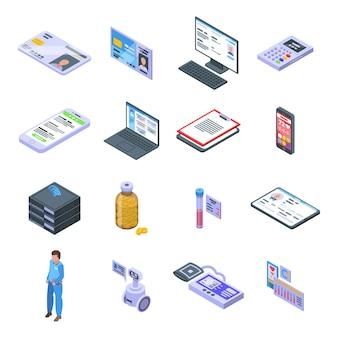 Conjunto de iconos de tarjeta electrónica de paciente. conjunto isométrico de iconos de vector de tarjeta de paciente electrónica para diseño web aislado sobre fondo blanco
