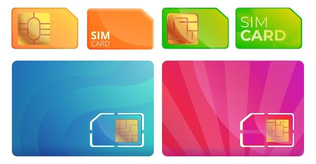Conjunto de iconos de tarjeta de teléfono sim, estilo de dibujos animados