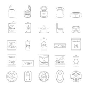 Conjunto de iconos de tarro de paquete de comida de lata