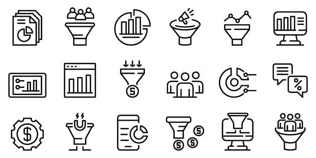Conjunto de iconos de tasa de conversión, estilo de contorno