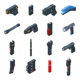 Conjunto de iconos de taser. conjunto isométrico de iconos de taser para web aislado sobre fondo blanco