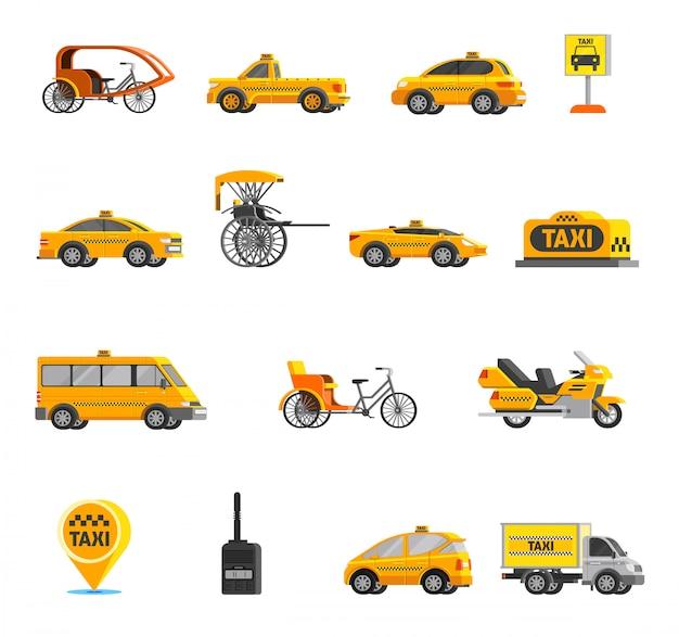 Conjunto de iconos de taxi