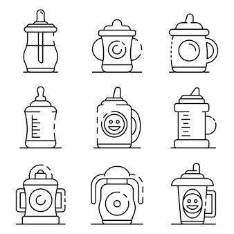 Conjunto de iconos de la taza de sippy. esquema conjunto de iconos de vector de taza sippy