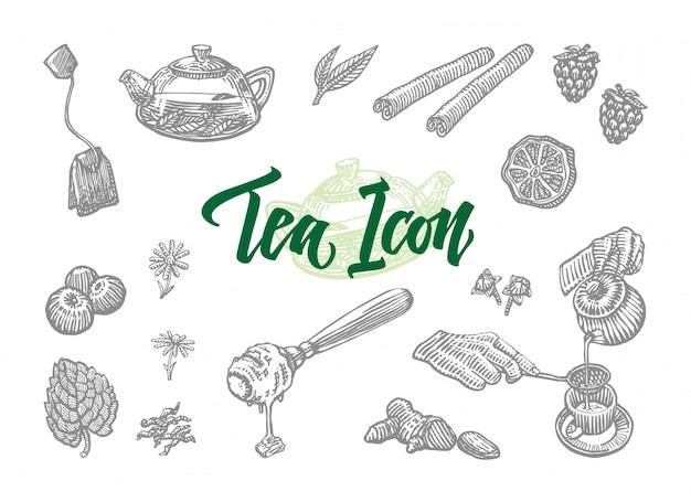 Conjunto de iconos de té de bosquejo