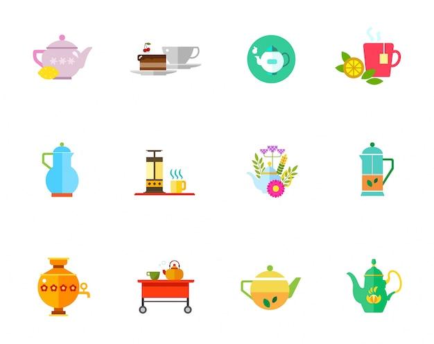 Conjunto de iconos de té de hierbas