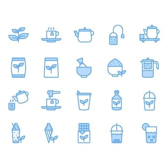 Conjunto de iconos de té verde