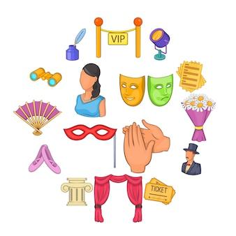 Conjunto de iconos de teatro, estilo de dibujos animados