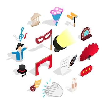 Conjunto de iconos de teatro, estilo isométrico 3d