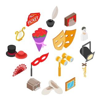 Conjunto de iconos de teatro, estilo isométrico