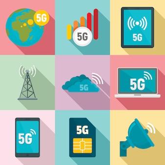 Conjunto de iconos de tecnología 5g, estilo plano