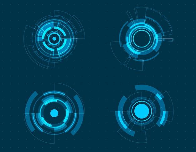 Conjunto de iconos de tecnología círculo diseño.