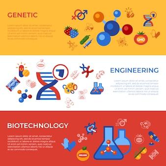 Conjunto de iconos de tecnología genética de ingeniería genética