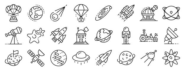 Conjunto de iconos de tecnología de investigación espacial, estilo de contorno