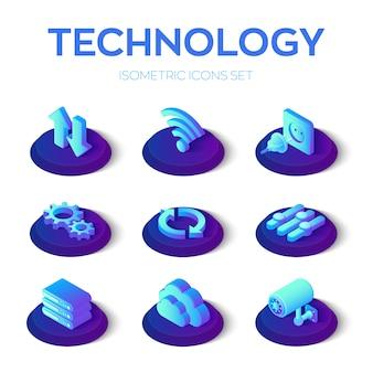 Conjunto de iconos de tecnología isométrica.