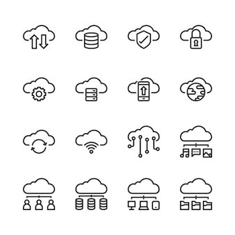 Conjunto de iconos de tecnología en la nube