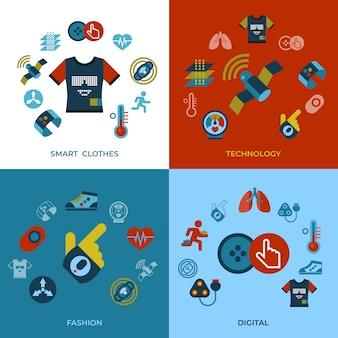 Conjunto de iconos de tecnología ropa inteligente gadget tecnología