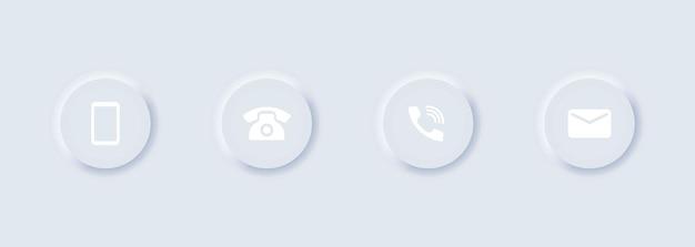 Conjunto de iconos de teléfono y mensaje