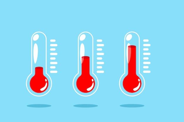 Conjunto de iconos de temperatura. ilustración de termómetro aislado sobre fondo azul.