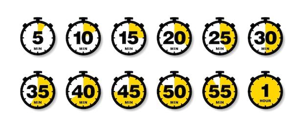 Conjunto de iconos de temporizador de cuenta regresiva.