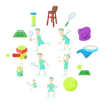 Conjunto de iconos de tenis, estilo de dibujos animados