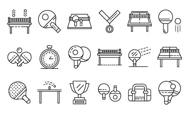Conjunto de iconos de tenis de mesa, estilo de contorno
