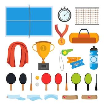 Conjunto de iconos de tenis de mesa