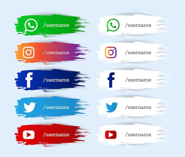 Conjunto de iconos de tercio inferior inferior moderno de redes sociales de acuarela