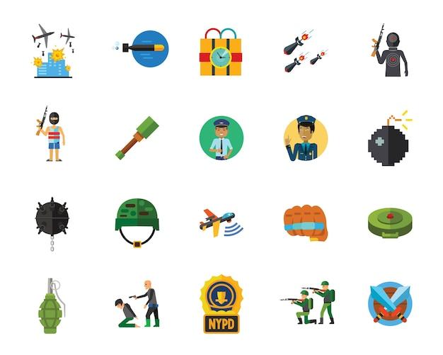 Conjunto de iconos de terror y guerra