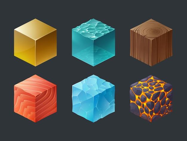 Conjunto de iconos de textura d juego de cubos isométricos