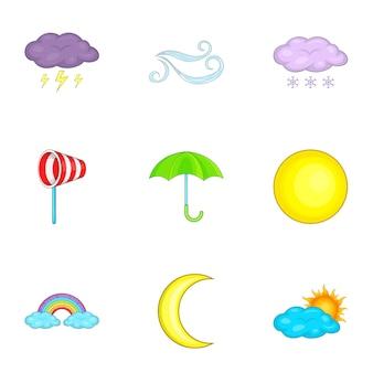 Conjunto de iconos del tiempo, estilo de dibujos animados
